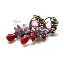 Ruby and Mystic Quartz Earrings