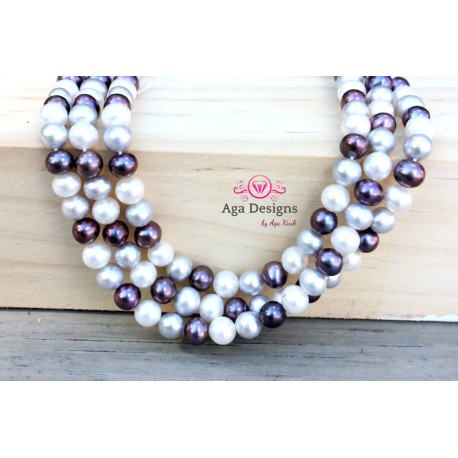Round mix color fresh water pearls 7mm