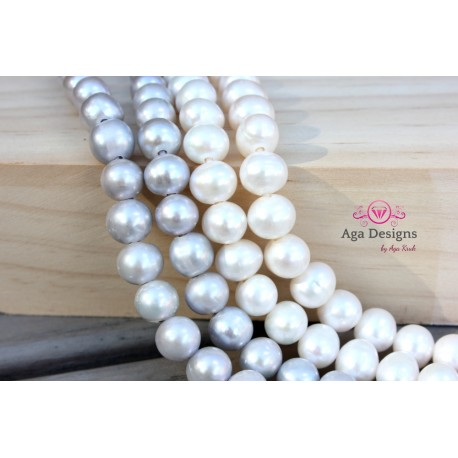 Round 2mm hole fresh water pearls SILVER color