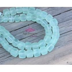 Mint chalcedony stone cube shape 9 mm