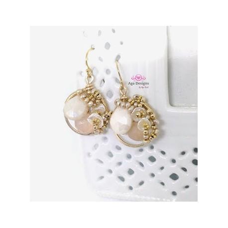 Hoop earrings with Peach Moonstone