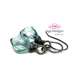 Aqua Quartz stones in sterling silver wrap