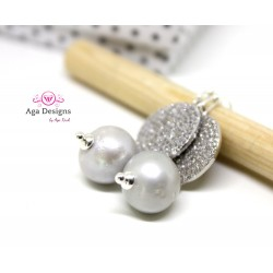Earrings with Silver Fresh Water Pearl and Sterling Silver Pave beads