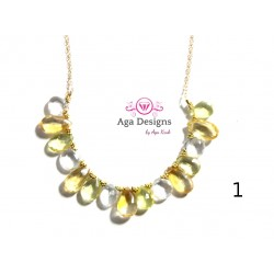 Porto Necklace 2 - Lemon Quartz, Citrine and Clear Rock Crystal