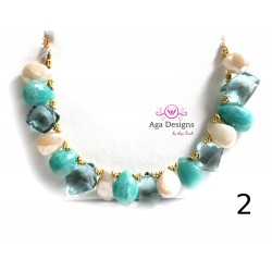 Porto Necklace 1 - Mint Quartz, Russian Amazonite and Light pink Chalcedony
