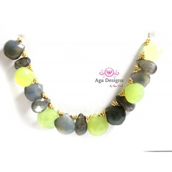 Porto Necklace 3 - Lime Green Chalcedony, Grey/Blue Chalcedony and Labradorite.