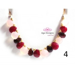 Porto Necklace 4 - Ruby, Garnet and Rose Chalcedony stones.