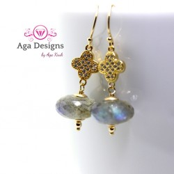 Earrings with faceted Labradorite stones with flower