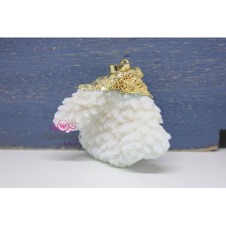 White Coral Pendant with gold bail 1