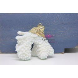 White Coral Pendant with gold bail 3