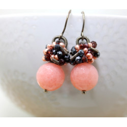 Peach Chalcedony with Garnet, Pyrite and Pearls
