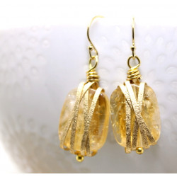 Citrine Earrings wrapped in textured gold wire