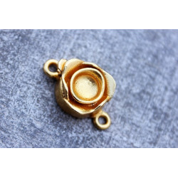 Gold Vermail Clasp 12x20mm -rose shape