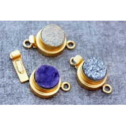 Gold Vermail Clasp with druzy silver 12x20mm