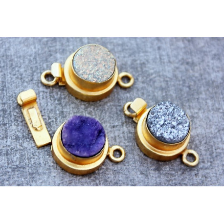 Gold Vermail Clasp with druzy purple 12x20mm -rose shape