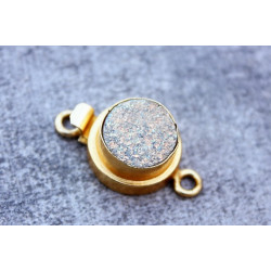 Gold Vermail Clasp with druzy Gold 12x20mm