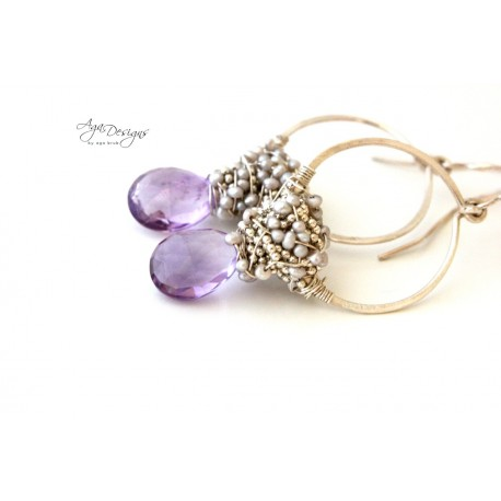 Lavender Hoop Earrings