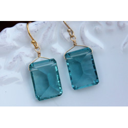 Teal Quartz Stone earrings