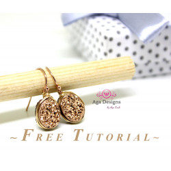 Kit set with free Video Tutorial - Druzy earrings