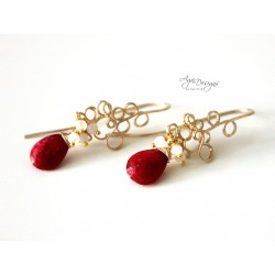 Rubies and Gold Earrings