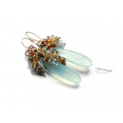 Mint Chalcedony and Opal Earrings