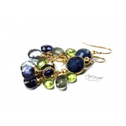 Lapis and Iolite Earrings