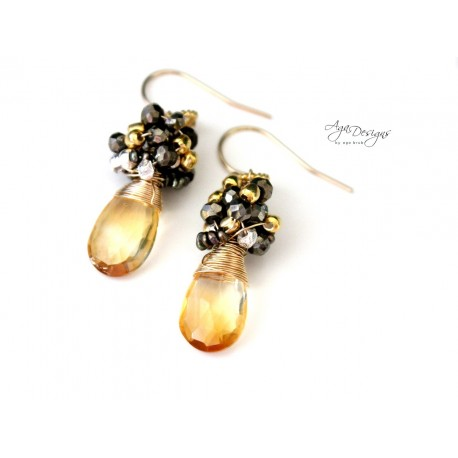 Citrine and Pyrite Earrings