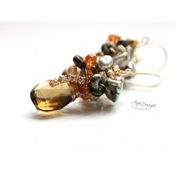 Beer Quartz Earrings