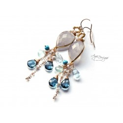 Aqua and Topaz Earrings