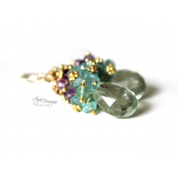 Green Pyrite and Amethyst Earrings