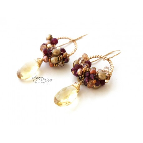 Gold and Ruby Red Earrings