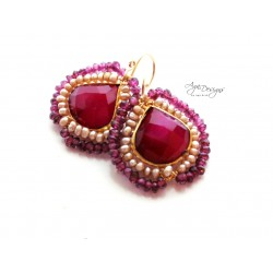 Ruby Red with Pearls and Garnet Earrings