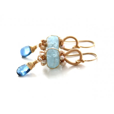 Aquamarine and Kynite Earrings