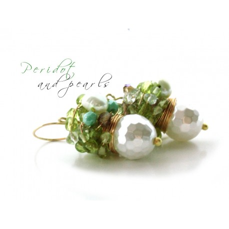 White Pearls and Peridot Earrings
