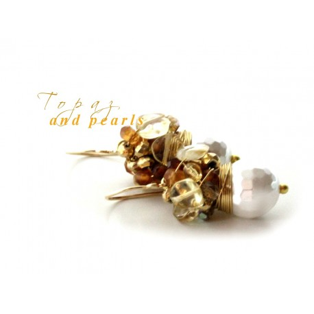 White Pearls and Honey Quartz Earrings