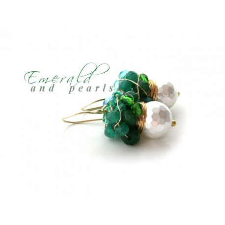 White Pearls and Green Quartz Earrings