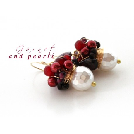 White Pearls and Garnet Earrings