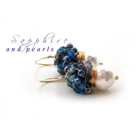 White Pearls and Blue Quartz Earrings