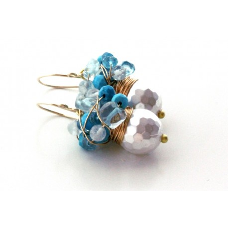 White Pearls and Aquamarine Earrings