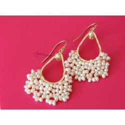 White Seed Pearls Earrings