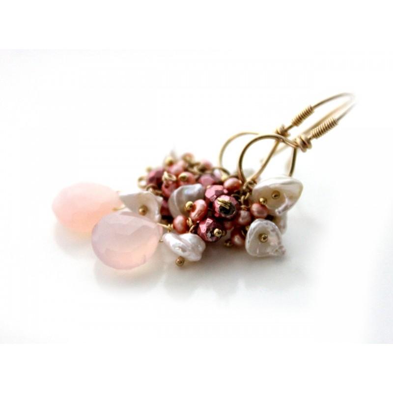 Light Pink Chalcedony Earrings