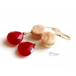 Druzy and Red Chalcedony Earrings