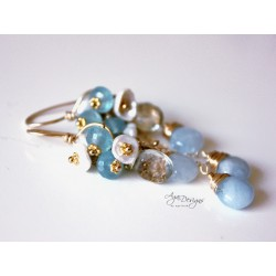 Aquamarine and Pearls Earrings