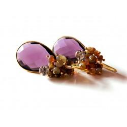 Amethyst and Opal Earrings