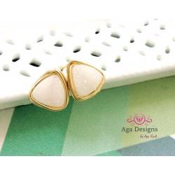 Druzy Stud Earrings - WHITE color