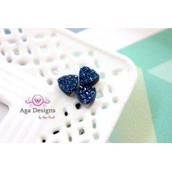 Triangle Druzy Stones with Hole Blue